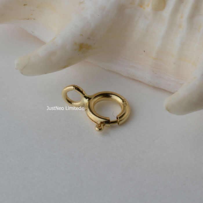 Solidna 18k Karat żółte złoto sprężyna pierścionek zapięcie 5mm Au750 18ct okrągła klamra na naszyjnik biżuteria ustalenia i komponenty