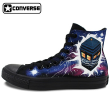 All Black Converse Chuck Taylor Men Women Hand Painted Canvas Shoes Design Police Box Galaxy Athletic Sneakers for Gifts
