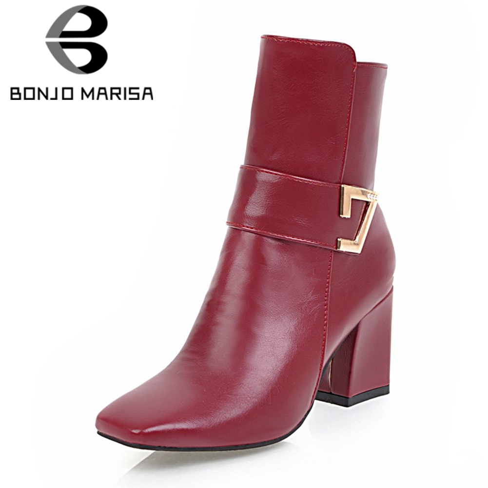 BONJOMARISA 2018 Winter Big Size 32-43 Top Sale Fashion Women Ankle Boots Square Toe Buckle Decorate Shoes Woman High Heels Boot bonjomarisa summer fashion hot sale women mules bling crystal pumps big size 32 43 mature high wedges heels shoes woman