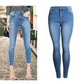 Women Fashion Jeans High Waist Knee Ripped Hole Pencil Jeans High Stretch Calf-Length Elegant Ladies Skinny Sexy Jeans