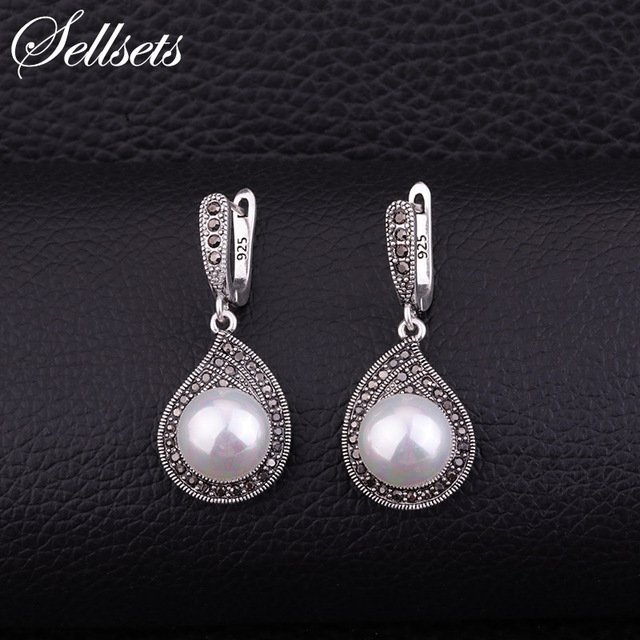 Sets Vintage Silver Color Teardrop Earring Pave Full Black Cz Rhinestone And Imitation Pearl Drop Earrings