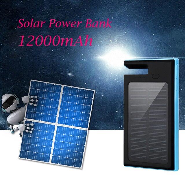 Высокая рекомендовать 12000 мАч Solar Power Bank с подставкой функция Внешнего солнечное зарядное устройство powerbank для мобильного телефона на открытом воздухе