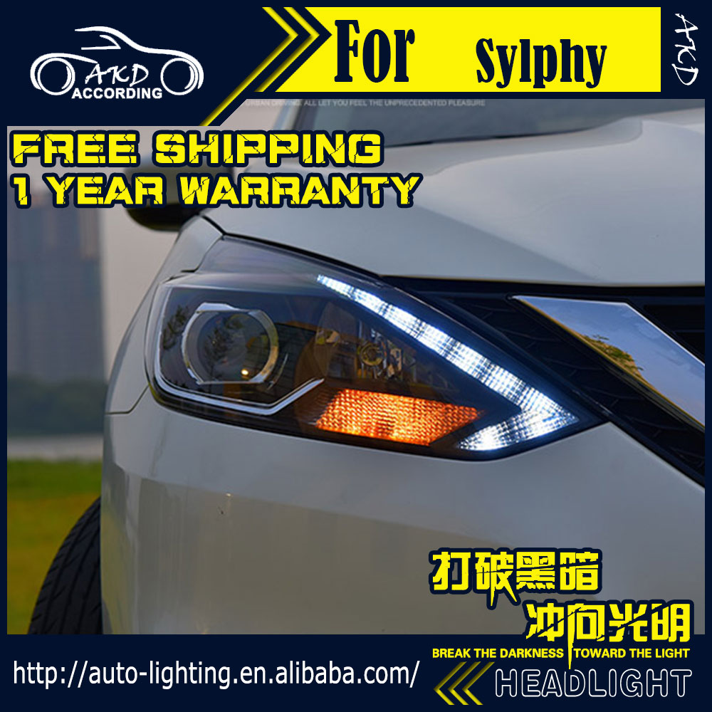 AKD Car Styling Head Lamp for Nissan Sylphy Headlight 2016 Sentra LED Headlight DRL H7 D2H Hid Option Angel Eye Bi Xenon Beam car styling head lamp case for hyundai creta ix25 headlight 2015 2016 sentra led headlight drl h7 d2h hid option bi xenon beam