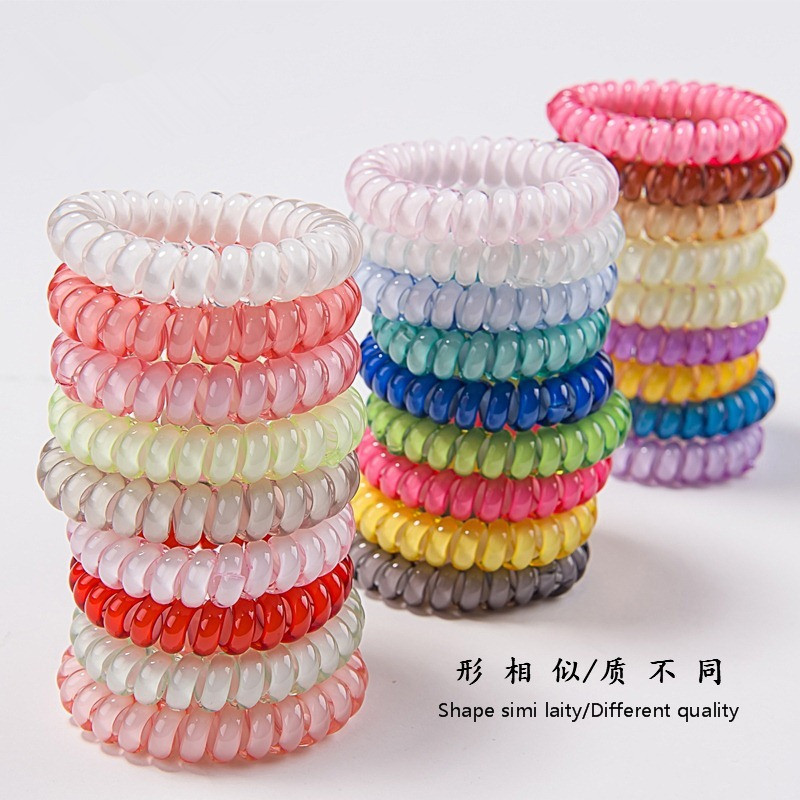 10PCS Candy Colors Telephone Line 5CM Elastic Hair Bands Headbands For Women Hair Accessories Girls Rubber Bands Hair Ropes