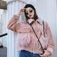 Candy Color Sheep Fur Shearling Jacket Women Natural Fur Coat Real Sheepskin Shearling Coat Winter Long Sleeve rf0308