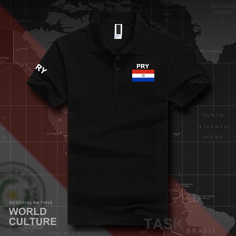 Paraguay   polo   shirts men short sleeve white brands printed for country 2017 cotton nation team flag new PRY Paraguayan Mestizo