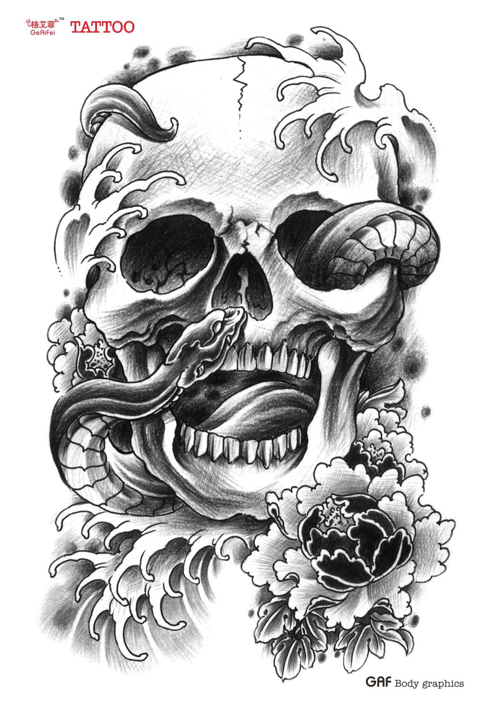 Large Temporary Tattoo Stickers Waterproof High Quality Men Arm Cool Sexy Products Lotus Snake Skull Designs Transfer In Tattoos From
