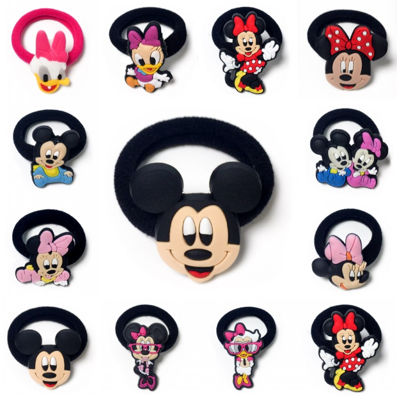 1PCS Mickey Minnie Hairbands scrunchie Hair Band Elastic Hair Accessories Girl's Hair Rope hairpins   Headwear   for Kids hair