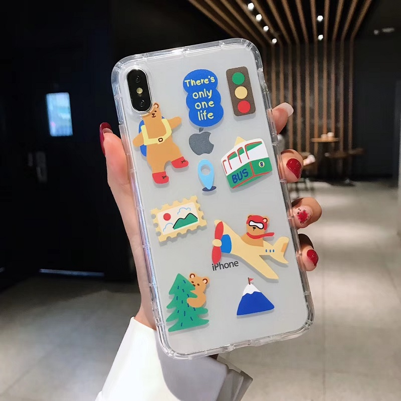 INS Korea super fire simple smiley face phone case For iphone Xs max Xr Xs X 6 6s 7 8 plus cute bear clear soft TPU Cover in Fitted Cases from Cellphones Telecommunications