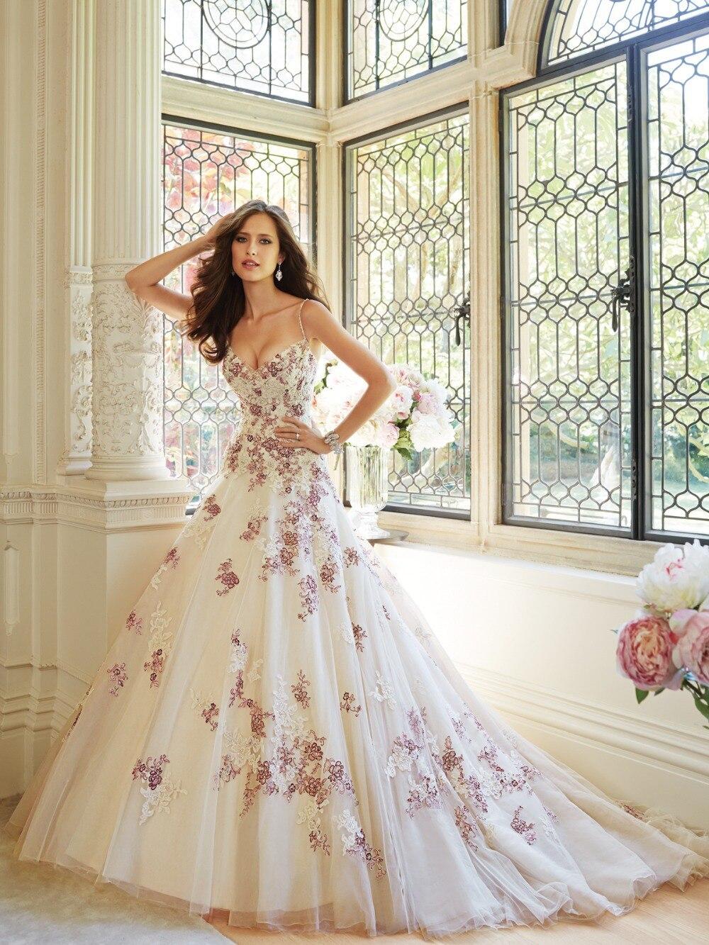 New Flowers Appliques Wedding Dress Purple And White Wedding Dresses