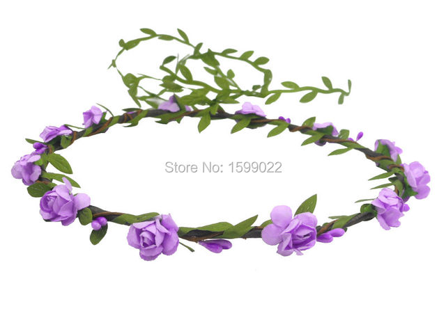 Bohemian Flower Crown Handmade Hair Band Purple Mini Paper Plum Blossom Floral Halo Wreath Rustic Wedding