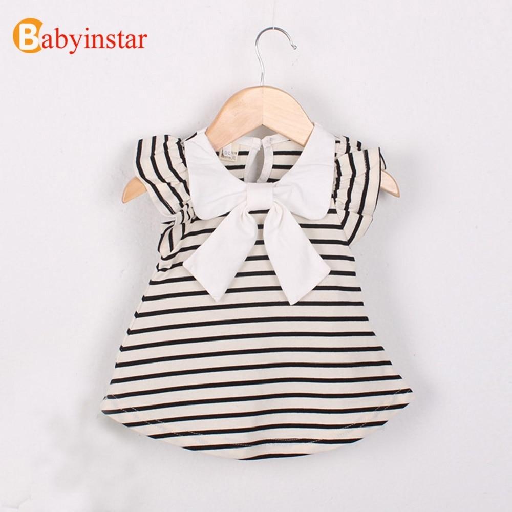 Babyinstar New Summer Cute Baby Girl Dress Cotton Polka Dot Striped Dress Baby Clothes Infants Princess Dress