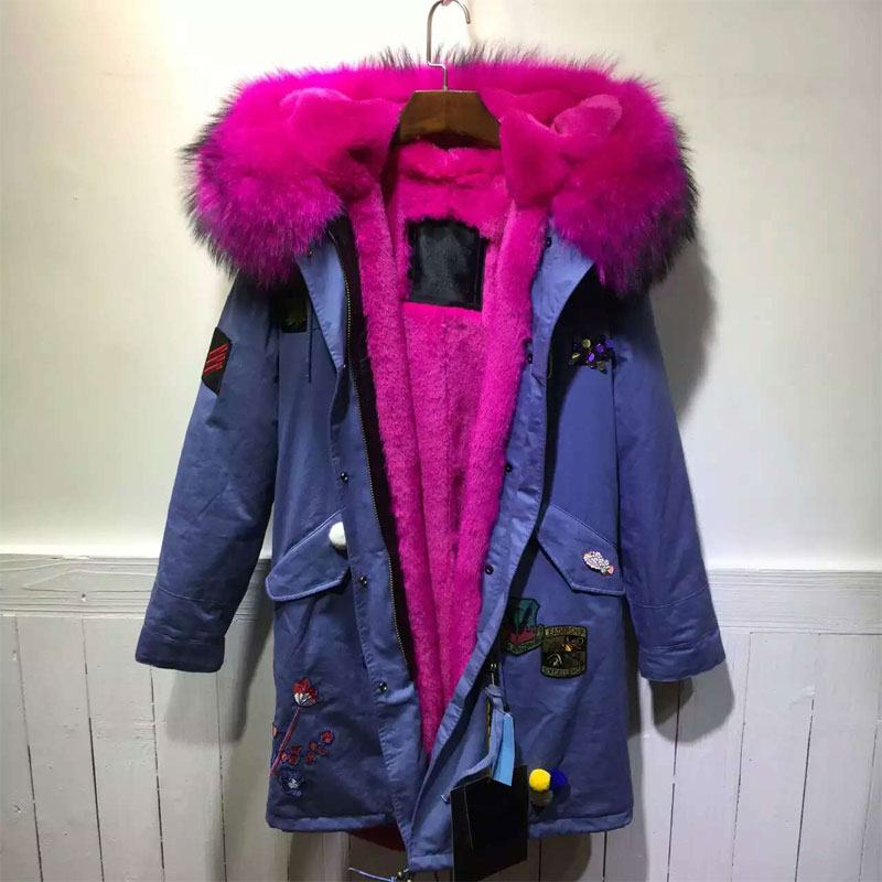 2016 New Fashion Winter style sky blue Jacket applique Rose Red Jacket For Lady