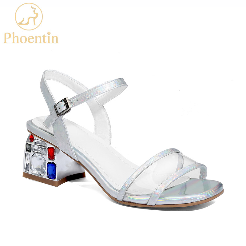 Phoentin 2019 fashion transparent sandals buckle strap crystal square heels PVC upper summer woman shoes silver plus size FT674Phoentin 2019 fashion transparent sandals buckle strap crystal square heels PVC upper summer woman shoes silver plus size FT674