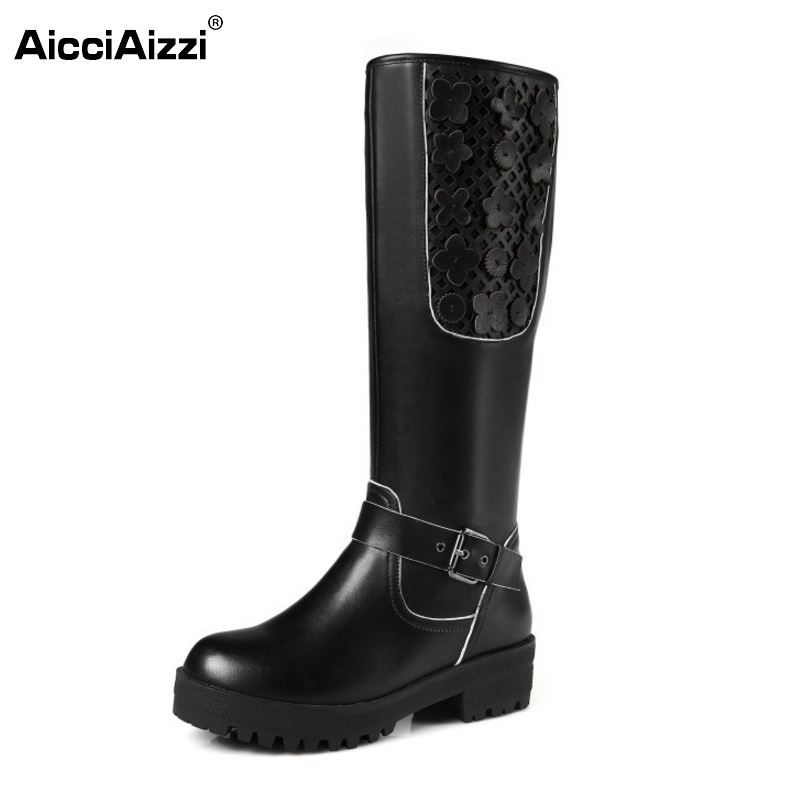 Women Real Genuine Leather Knee Boots Woman Fashion Round Toe Square Heel Riding Boots Lady Flower Heels Shoes Size 34-42 riding boots chunky heels platform faux pu leather round toe mid calf boots fashion cross straps 2017 new hot woman shoes