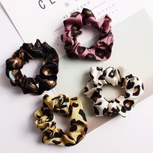 Elastic Leopard Hair Rope Elegant Womens Cute Pointed Rabbit Ears Bowknot Ponytail Holder Decorative Scrunchies Headwear