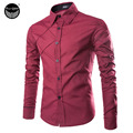 2017 Men'S Fashion Casual Solid Color Long Sleeve Shirt, Male Camisas Hombre Slim Designer Masculina M ~ XXL 3 Color AF468