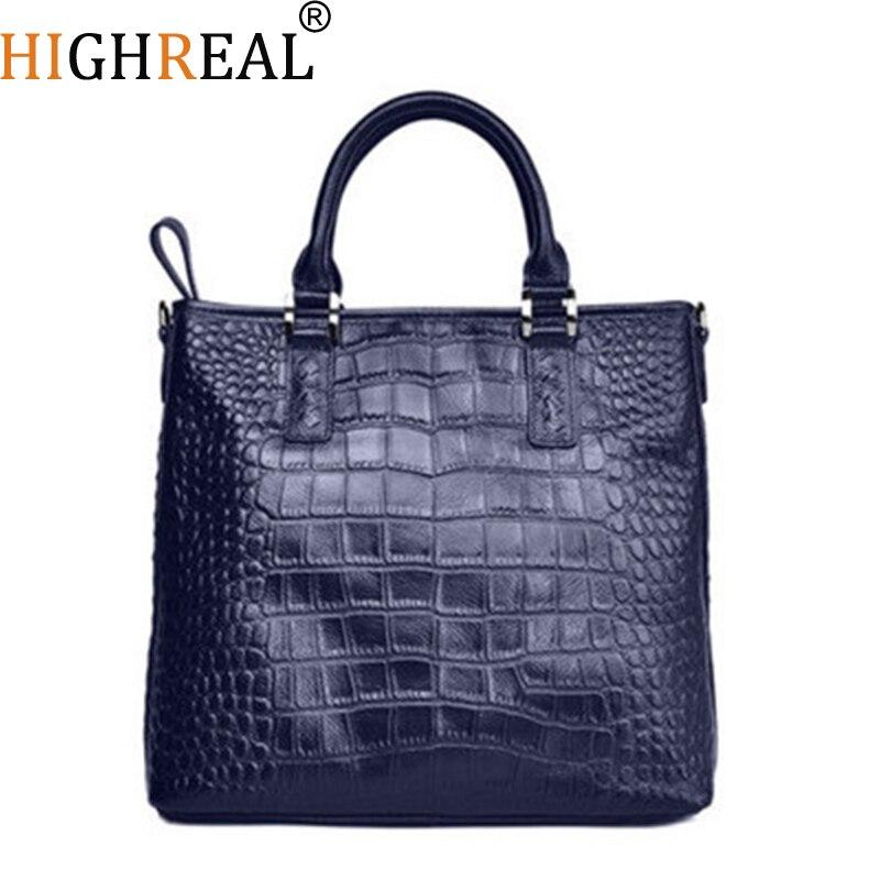 HIGHREAL motif Crocodile en cuir véritable sac femmes épaule Messenger sacs de luxe célèbre Designer sacs à main de haute qualité