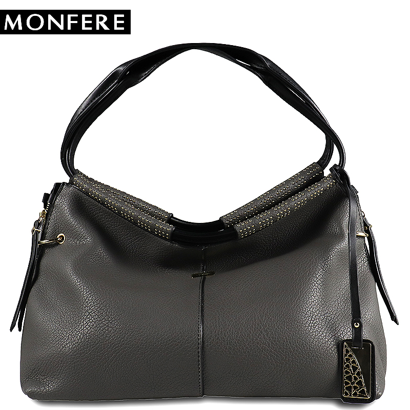 MONFERE Ladies Shoulder Bags Women Big Shoulder Bags for Woman 2018 Fashion High Quality Designer Brand Vegan Leather Handbags