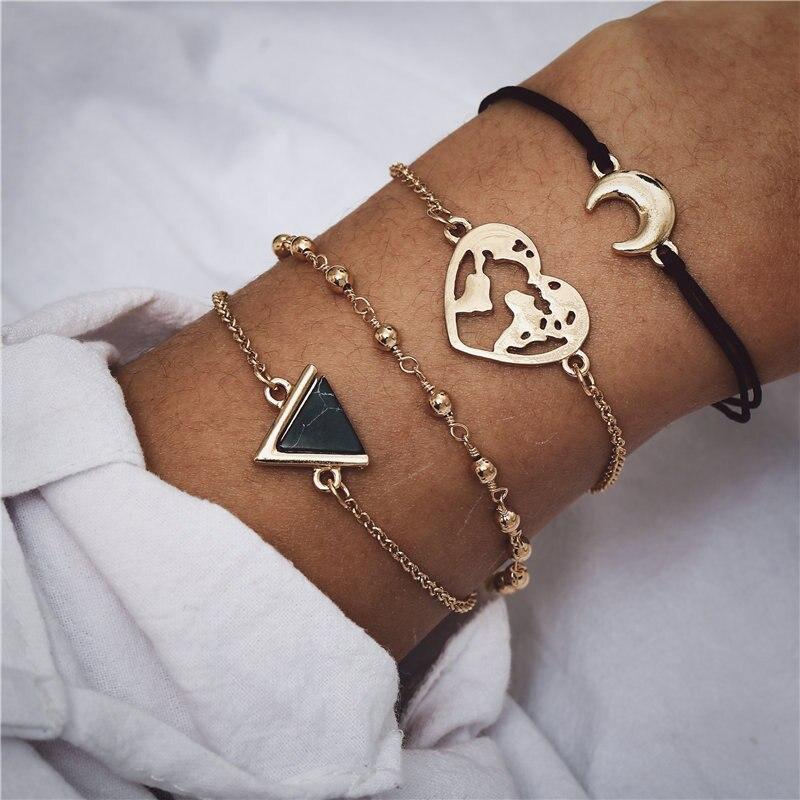 IF ME Bohemian Geometric Stone Bracelet Set for Women Vintage Rope Taseel Sequin Moon Map Elephant Heart Leaf Female Jewelry NEW 2