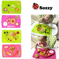 1pcs Sozzy Cute Silicone one piece Eat Mat Plate Frame Side Dish Box Plates Dinnerware Food Bowl Baby Feeding Tableware