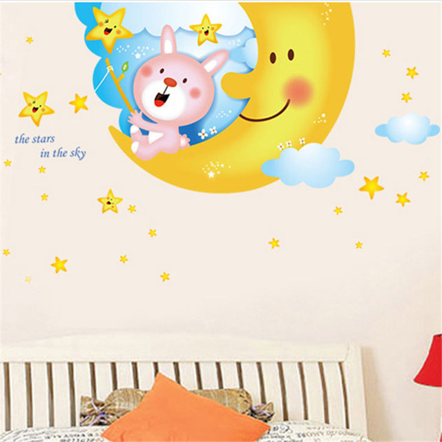 Maruoxuan 2017 Cartoon White Clouds Moon Rabbit Vinyl Wall Stickers ...
