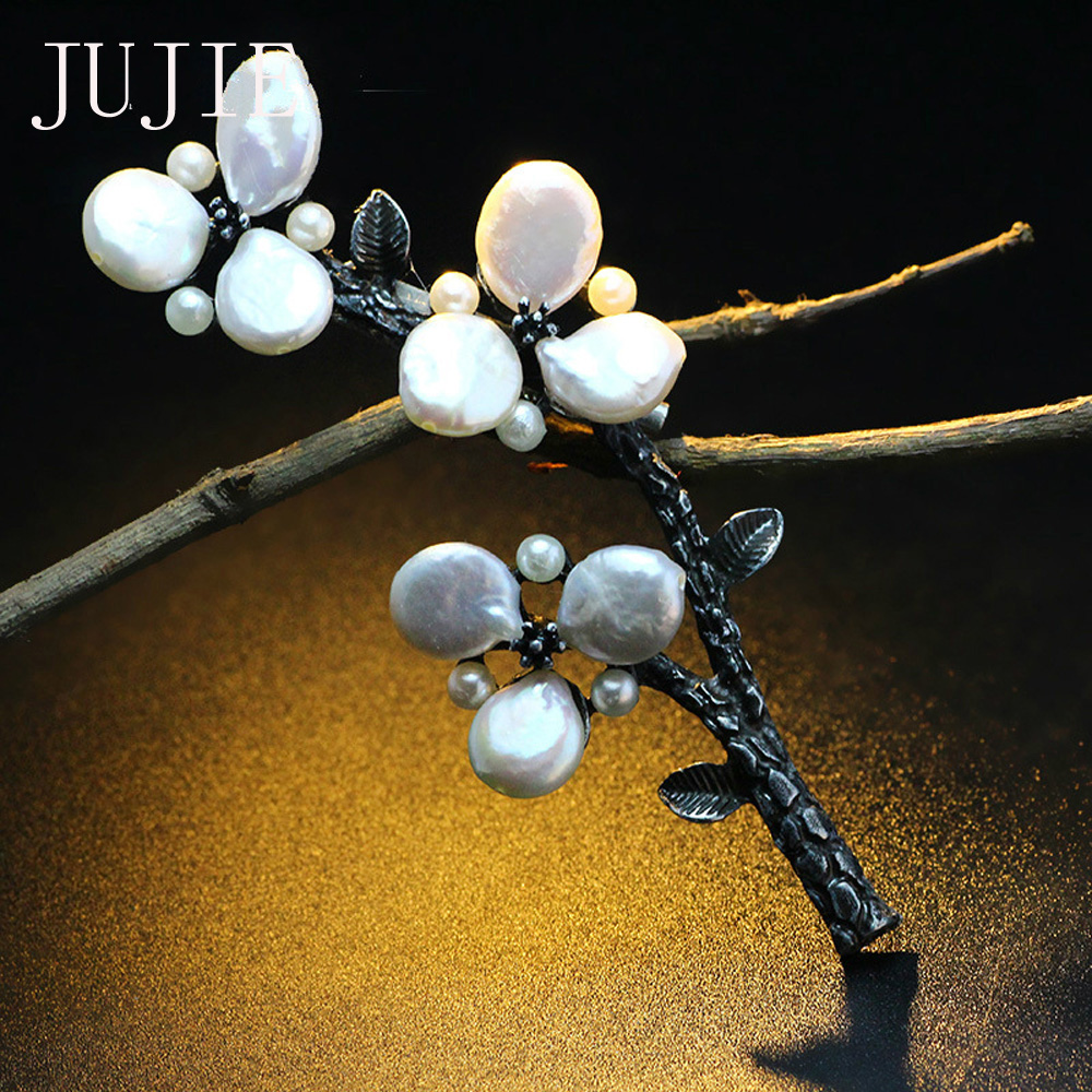 JUJIE Luxury Pearls Flower Brooches Female Plant Dress Accessories Jewelry Dropshipping