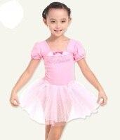 Short Sleeve Children Girl Dance Ballet Tutu Dress Leotard Costume Fitness Clothing Performance Wear