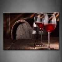 Framed Wall Art Pictures Red Wine Barrel Canvas Print Food Modern Posters With Wooden Frames For Home Living Room Decor
