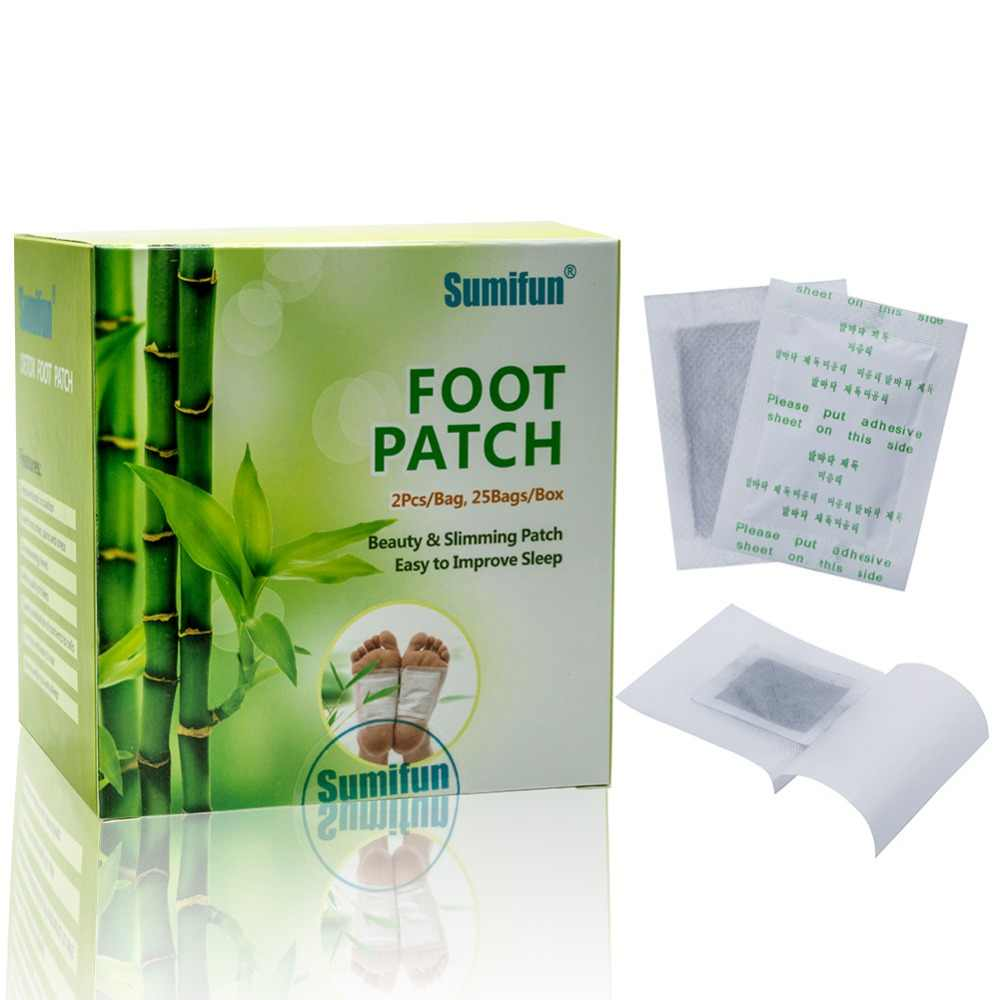 50 sztuk = 25 worek bambusowy ocet ziołowy Detox Foot łatki piękno i odchudzanie stóp łatka łatwe do poprawy snu klej #269538