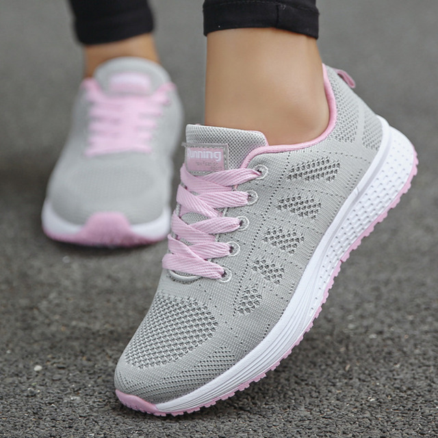 Tennis Shoes For Women 2019 Fashion Casual Shoes Lace-Up Breathable Mesh Round Cross Strap Flat Sneakers Calzado Deportivo Mujer 3
