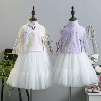 5320 Chinese Style Embroidery Princess Kids Baby Girls Clothing Sets 2pcs Top Skirt 2018 Summer Kids