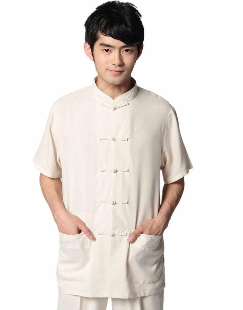 Shanghi Story Beige Linen tai chi shirt Chinese Traditional clothing Tang  suit Top mandarin collar kungfu 5c59aa1610b6
