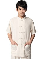 Free Shipping New Arrival Beige Linen Tai Chi Shirt Chinese Traditional Clothing Tang Suit Mandarin Collar
