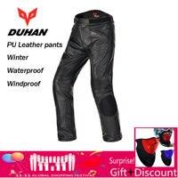 Духан Для мужчин из искусственной кожи Мотогонки Водонепроницаемый ветрозащитные штаны мотоциклетные защитные брюки