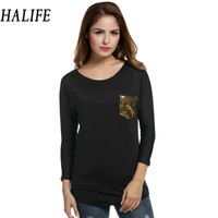 Black Woman Tshirt Batwing Long Sleeve Sequined Pocket T Shirt Women Hip Length Long Tshirts Tee