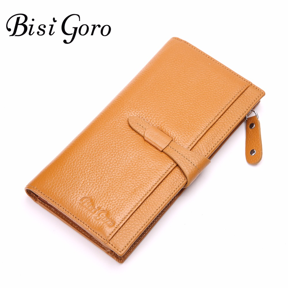 Bisi Goro Womens Wallets and Purses Multifunctional Handmade Purse Genuine Leather Long Clip Wallet Women Cowhide Cash Holder