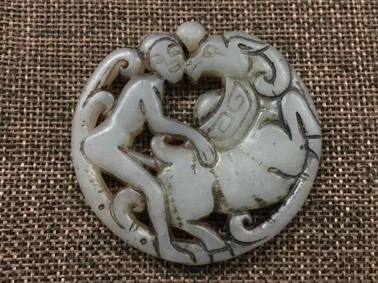 Antigo pingente de jade pingente de besta nude educação do caráter cultura
