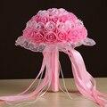 Envío Rápido de Cristal Cuentas de Encaje Borde de La Cinta Wedding Bouquet Artificial Buque Noiva Branco Rosa Rojo 6 Diverso Color Nupcial