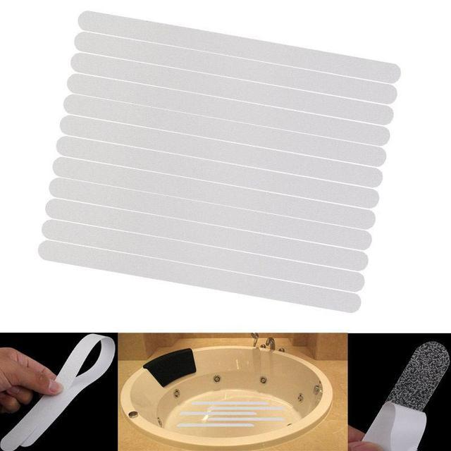 12 pz Anti Slip Bath Mat Presa Adesivi Antiscivolo Doccia Strisce Pavimentazione