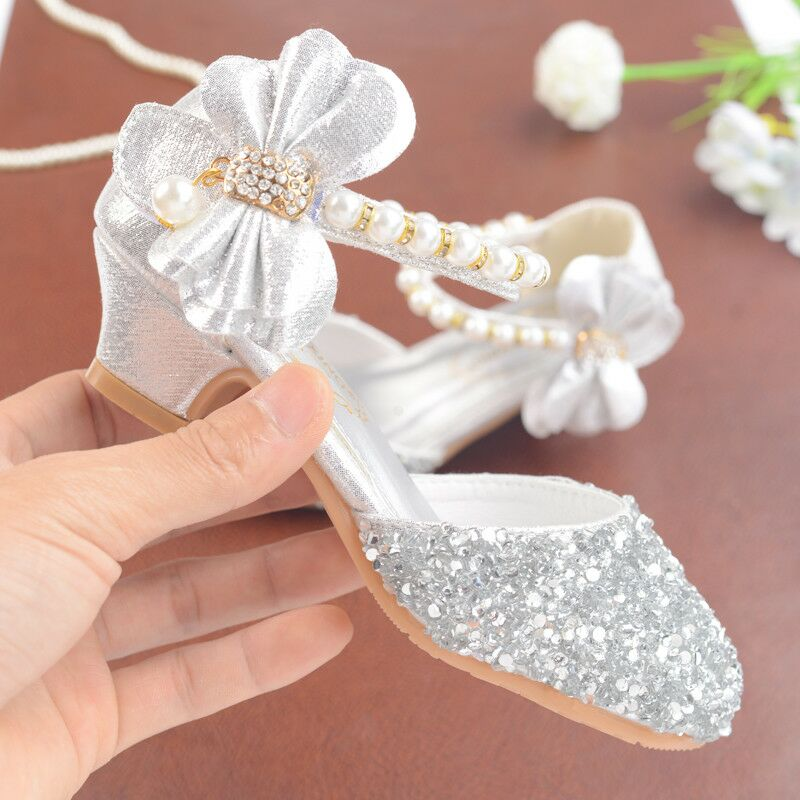 Summer Girl Shoes Baby Girl's Sandals Anti-skid Children Shine Shoes 5-18 Years Cow Muscle Outsole Princess Crystal Sandals