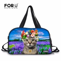 FORUDESIGNS Women Yoga Mat Bags Cute 3D Animal Flower Cat Printing Sport Bag For Women Large