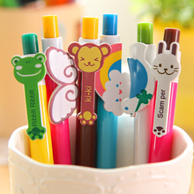6 pcs Cute animal ballpoint pen 0.5mm Blue color Rabbit Frog Cartoon Stationery Office School supplies Canetas escolar FB207