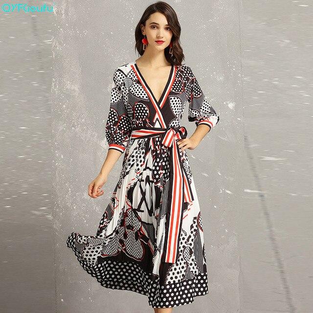 66cf2d3061a7 QYFCIOUFU 2019 Summer Women Lace Up Dress Half Sleeve Runway Deep V Neck  Dress Fashions Polka Dot Print Elegant Dress Long
