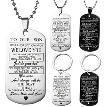 Dog Tags Pendant Necklace Family Jewelry To My Son Daughter We Love You Love Dad Mom Necklace Military Army Cards(China)