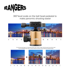 Rangers Skilled Transportable 360 diploma Tripod Head Ball Adapter Plate Screw Ball Head  for DSLR Video Digital camera Champagne RA096