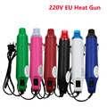Renkli 220V Mini sıcak hava tabancası 300W Max 200 sıcaklık DIY kullanımı elektrik güç aracı taşınabilir dijital isı tabancası koltuk ile Shrink