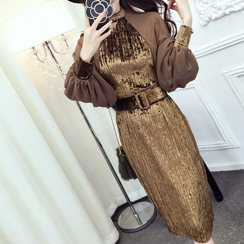 2018 סתיו אופנה אלגנטי שיפון פנסי שרוול קטיפה טלאי שמלות בציר Sashes קפלים קטיפה גבוהה מותניים שמלה