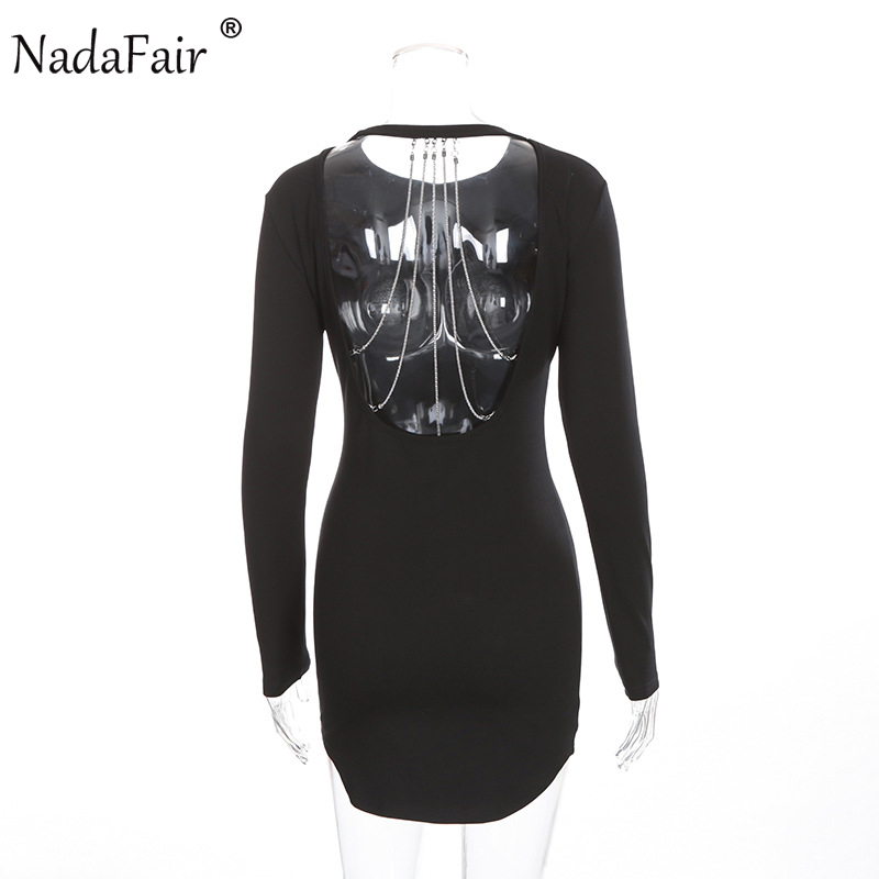 3a3bdf0889d Nadafair O cou à manches longues dos nu chaîne Sexy Club moulante robe de soirée  noir dans Robes de Mode Femme et Accessoires sur AliExpress.com