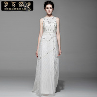 free shipping 2013 woman dress designer luxury beading paillette double shoulder design formal evening gowns white long dresses